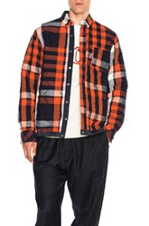 Sacai Elastic Shirt In Orange Blue Checkered And Plaid Orange Blue Checkered And Plaid