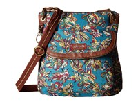Sakroots Artist Circle Flap Crossbody Teal Treehouse Cross Body Handbags Blue