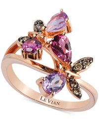 Le Vian Multi Stone And Diamond Accent Butterfly Ring In 14K Rose Gold 1 1 6 Ct. T.W.