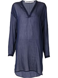 Isabel Benenato V Neck Tunic Top Blue
