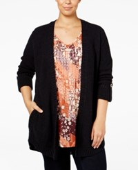 Styleandco. Style Co. Plus Size Roll Tab Open Front Cardigan Only At Macy's Indigo Blue Deep Black