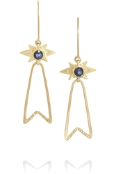 Scosha Prestige Ribbon 18 Karat Gold Diamond And Sapphire Earrings