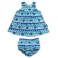 Toby Tiger Boat Baby Dress And Pants Blue