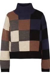 Current Elliott The Boxy Knitted Turtleneck Sweater Storm Blue