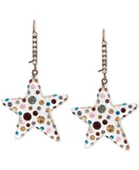 Betsey Johnson Copper Tone Multi Crystal Lucite Star Drop Earrings