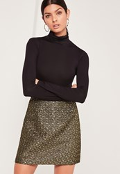 Missguided Foil Textured A Line Wrap Mini Skirt Gold