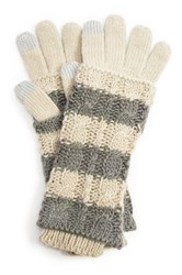 Muk Luks Striped 3 In 1 Gloves White