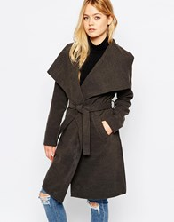 Jdy Tie Front Coat Dark Grey Melange