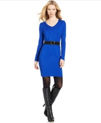Ny Collection Long Sleeve Belted Sweater Dress True Blue