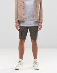 Asos Skinny Cargo Shorts With Zips In Dark Green Forest Night