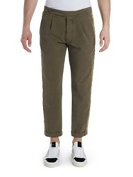 Palm Angels Washed Classic Lace Trimmed Pants Military Green
