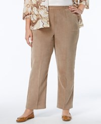 Alfred Dunner Plus Size Twlight Point Collection Wide Leg Corduroy Pants Natural