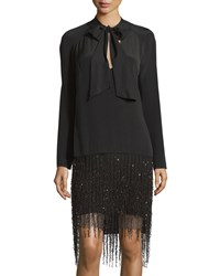 Monique Lhuillier Long Sleeve Layered Feather Trim Dress Noir