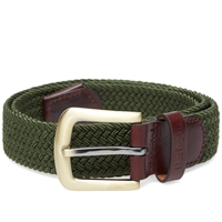 Barbour Stretch Webbing Leather Belt Khaki