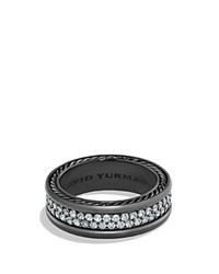 David Yurman Pave Two Row Ring With Grey Sapphire In Black Titanium Black Silver