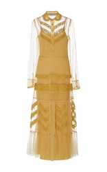 Red Valentino Macrame Embroidered Ribbon Dress Yellow