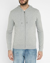 Ikks Grey Hooded Cardigan With White Trim On The Side