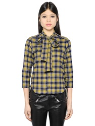 Dsquared Scarf Collar Plaid Cotton Flannel Shirt Yellow Blue