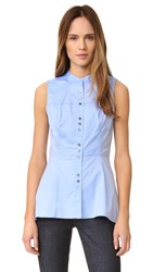 Derek Lam Sleeveless Peplum Shirt Oxford