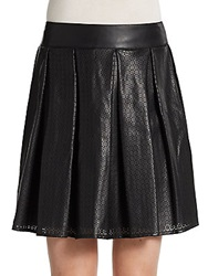 Saks Fifth Avenue Red Laser Cut Faux Leather Skirt Black