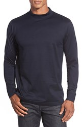 Men's Bugatchi Long Sleeve Mock Neck T Shirt Navy