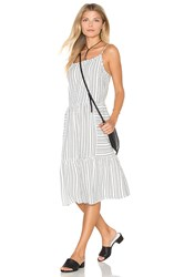 Michael Stars Seersucker Tiered Cami Midi Dress White