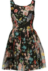 Dolce And Gabbana Floral Print Silk Organza Mini Dress Multi
