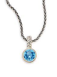 Effy Blue Topaz Sterling Silver And 18K Yellow Gold Round Pendant Necklace Silver Blue