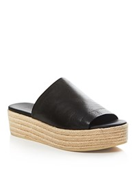 Vince Solana Leather Platform Slide Sandals Black