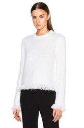 Proenza Schouler Wool And Cotton Stitch Crewneck Sweater In White