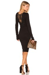 Pam And Gela Long Sleeve Ruched Lace Dress Black