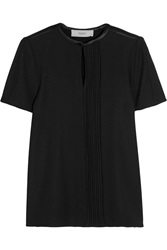 Pringle Pintucked Stretch Crepe And Silk Satin Top Black