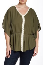 Halo Crochet Trim Flutter Sleeve Top Plus Size Green