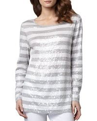Joan Vass Sequined Striped Tunic Grey Hthr Brt Wh