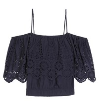 Ganni Yoko Lace Trimmed Off The Shoulder Blouse Blue