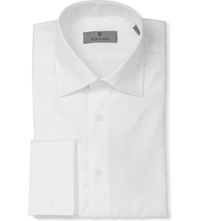 Canali Modern Fit Double Cuff Cotton Twill Shirt White