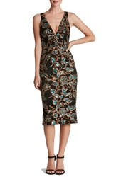 Dress The Population Women's 'Margo' Sequin Midi Black Teal Gold