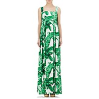 Dolce And Gabbana Women's Foliage Print Empire Waist Dress White Green No Color White Green No Color