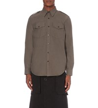 Dries Van Noten Ribbon Cotton Shirt Khaki