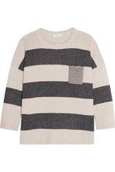 Brunello Cucinelli Embellished Striped Cashmere Sweater Cream