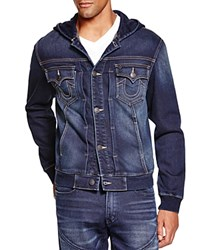 True Religion Dylan Hooded Denim Jacket Deep Shadow