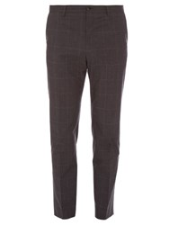 Dolce And Gabbana Prince Of Wales Check Cotton Trousers Charcoal
