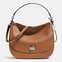Coach Turnlock Hobo In Polished Pebble Leather Silver Saddle
