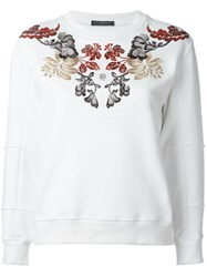 Alexander Mcqueen Floral Embroidered Sweatshirt White