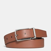 Coach Modern Harness Cut To Size Reversible Smooth Leather Belt Saddle Dark Brown