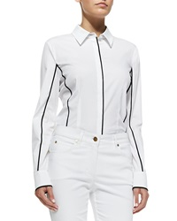 Escada Spread Collar Piped Blouse