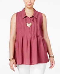 American Rag Trendy Plus Size Sleeveless Pintucked Blouse Only At Macy's Zinfindel