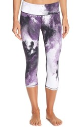 Alo Yoga Women's Alo 'Airbrushed' Performance Capris Purple Pennant Smoke Print