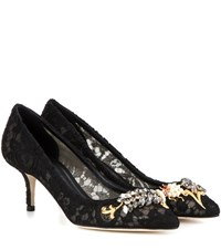 Dolce And Gabbana Embellished Lace Kitten Heel Pumps Black