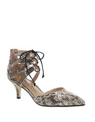 Nina Fun Snakeskin Leather Point Toe Pumps Black White